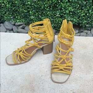 Yellow strappy stacked sandals